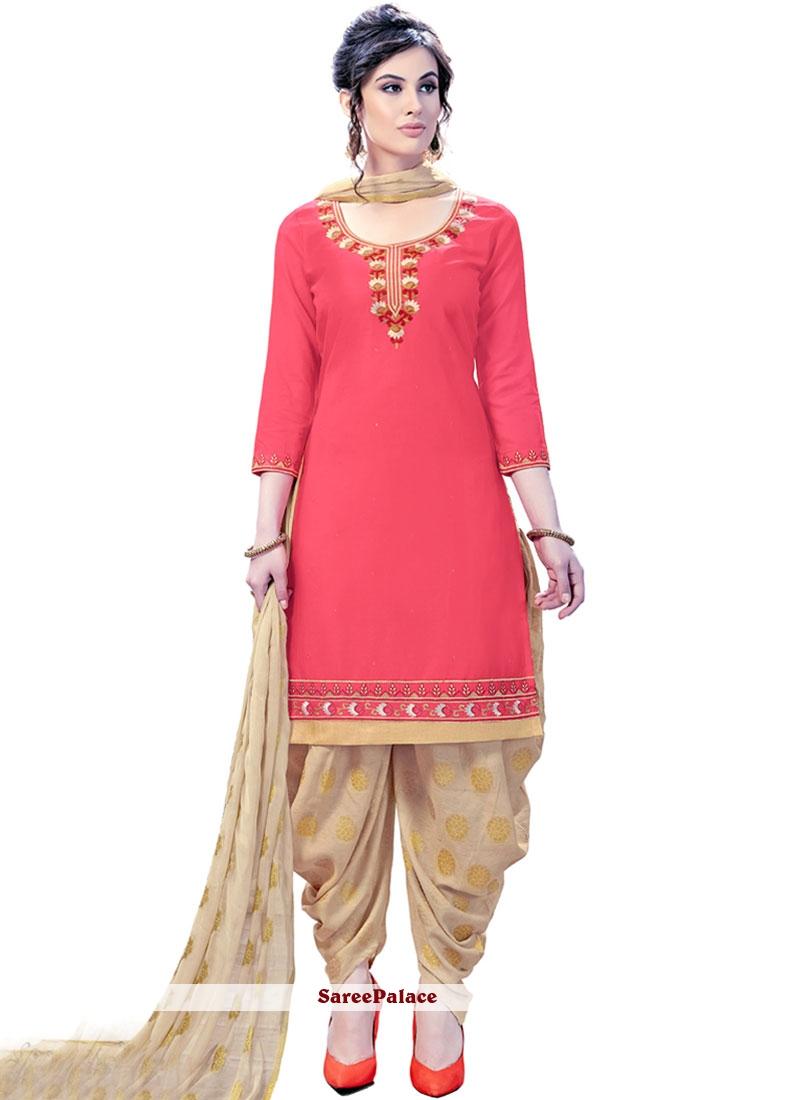 e48fc8a329 Buy Cotton Satin Hot Pink Patiala Suit Online