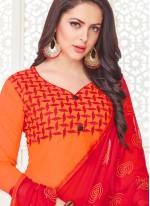 Cotton Satin Orange Churidar Suit