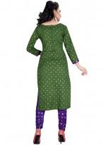 Cotton Satin Print Work Churidar Suit