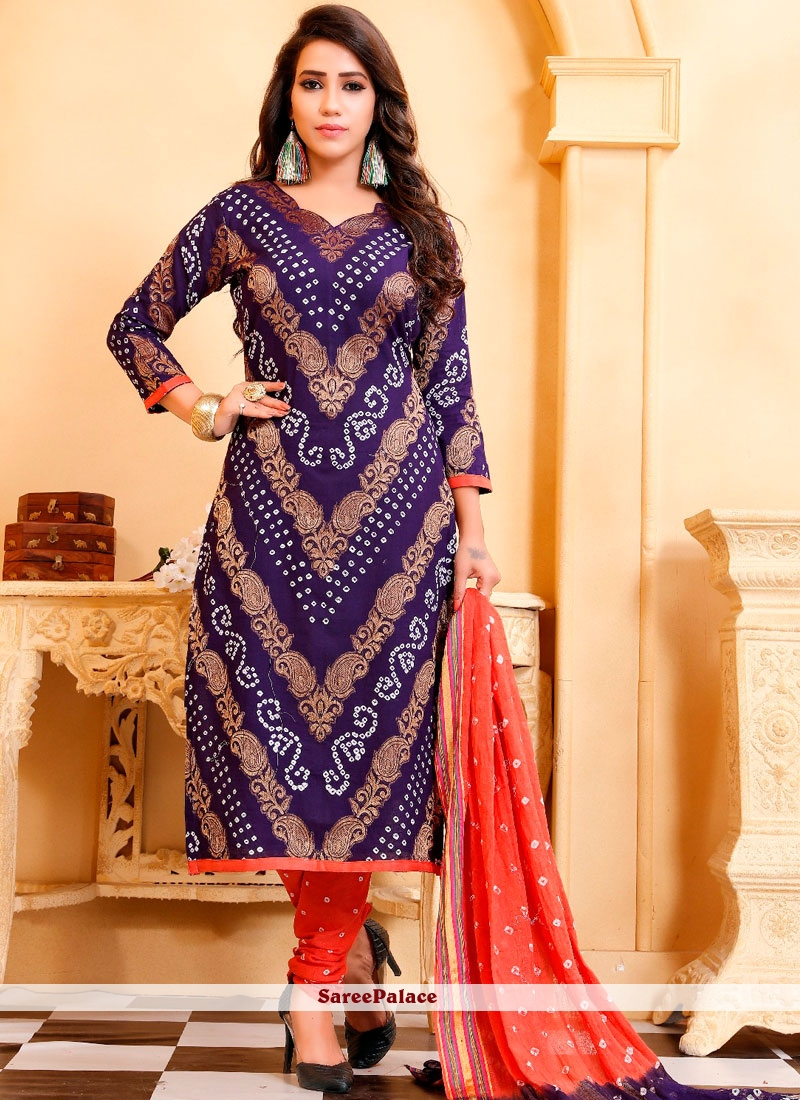 Cotton Satin Salwar Suit in Blue