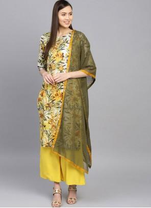 Cotton Sea Green and Yellow Floral Print Casual Kurti