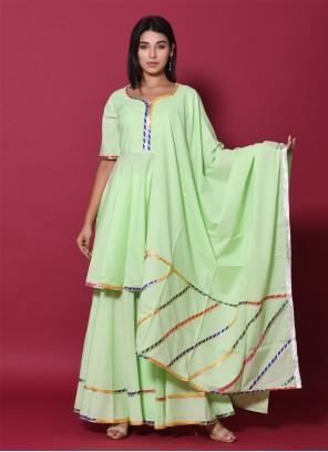 Cotton Sea Green Designer Palazzo Salwar Kameez