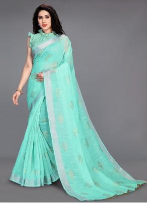 Cotton Sea Green Printed Saree