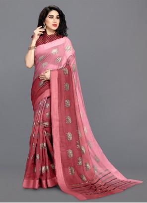 Pink Cotton Shaded Saree