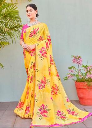 Cotton Silk Abstract Print Multi Colour Printed Saree
