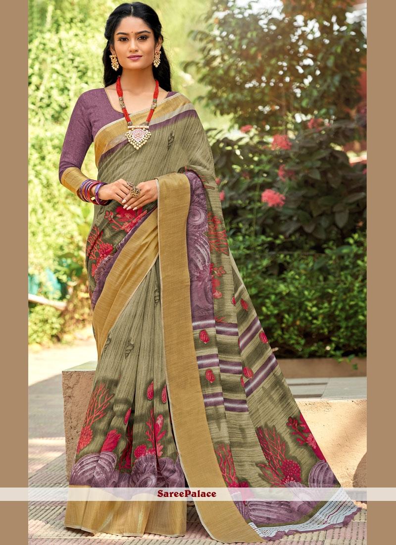Cotton Silk Abstract Multi Colour Printed Saree