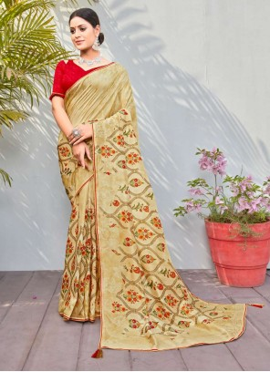 Cotton Silk Abstract Print Traditional Saree in Multi Colour