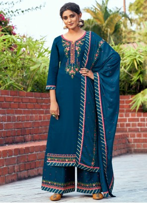 Cotton Silk Blue Designer Salwar Kameez