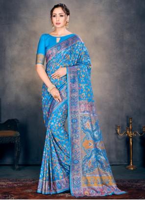 Cotton Silk Blue Designer Traditional Saree