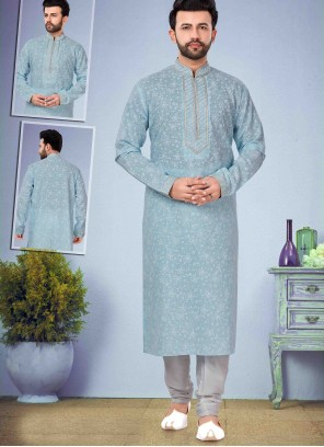 Cotton Silk Blue Kurta Pyjama