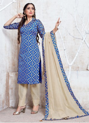 Cotton Silk Blue Trendy Salwar Suit