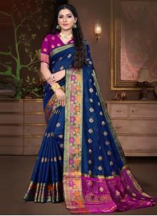 Cotton Silk Blue Weaving Designer Traditional Saree