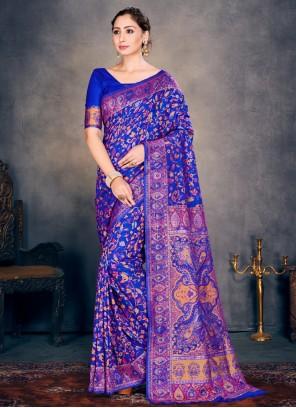 Cotton Silk Blue Woven Designer Traditional Saree