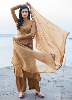 Cotton Silk Brown Embroidered Pant Style Suit