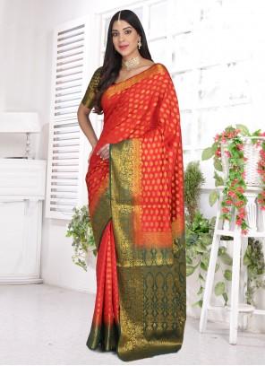 Cotton Silk Red Ceremonial Designer Saree