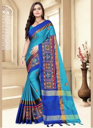 Blue Cotton Silk Contemporary Saree