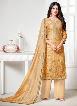 Cotton Silk Cream and Yellow Designer Palazzo Salwar Suit