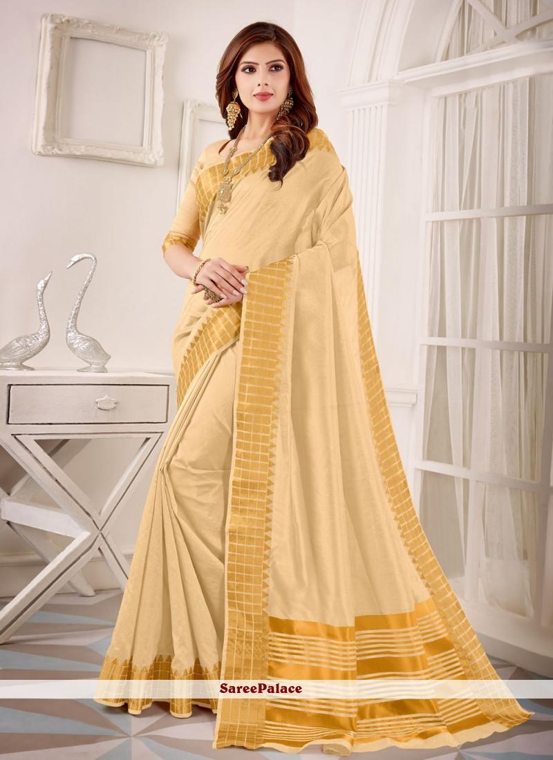 Cotton Silk Cream Fancy Classic Designer Saree