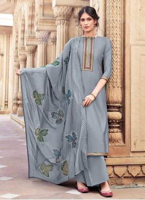 Cotton Silk Designer Palazzo Suit in Grey