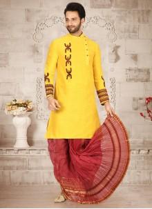 Cotton Silk Dhoti Kurta in Yellow