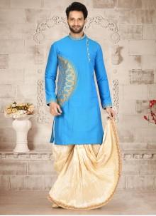 Cotton Silk Embroidered Aqua Blue Dhoti Kurta