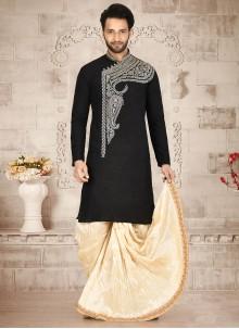 Cotton Silk Embroidered Black Dhoti Kurta