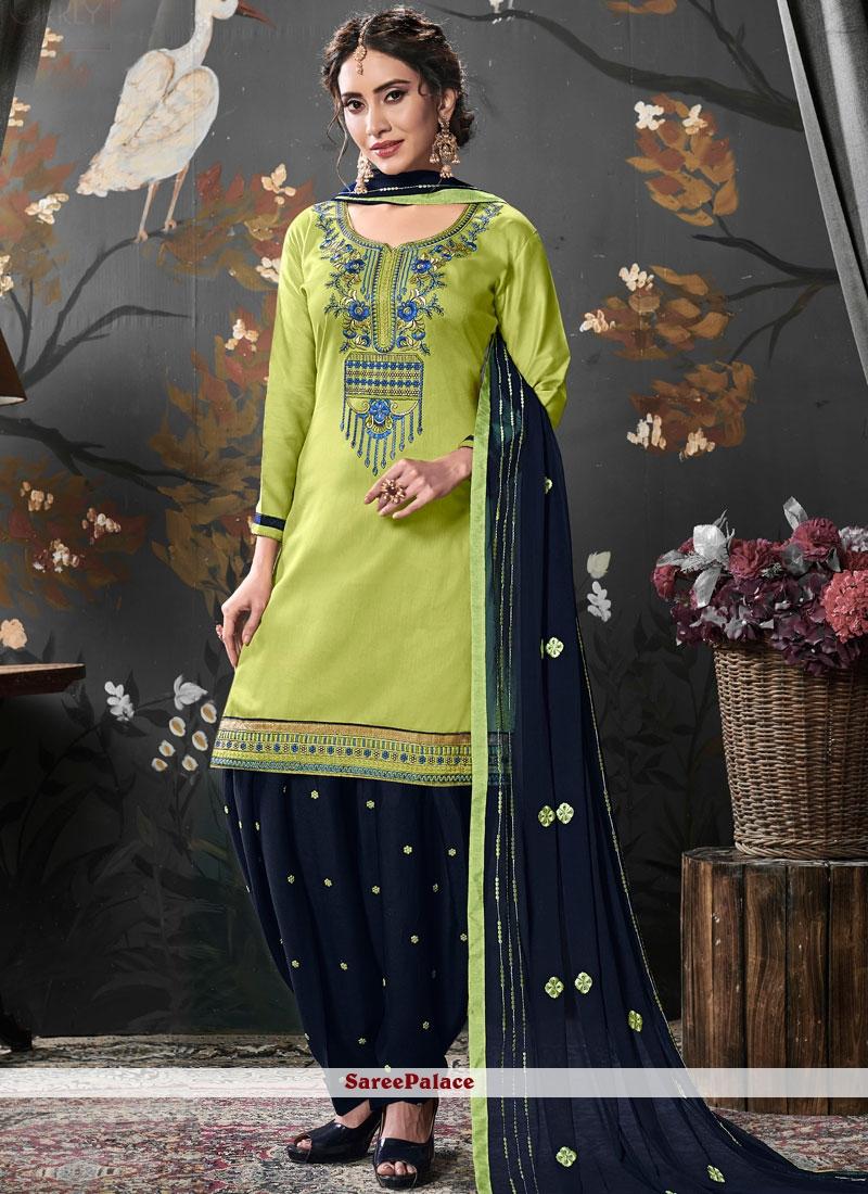Cotton Silk Embroidered Designer Patiala Salwar Kameez