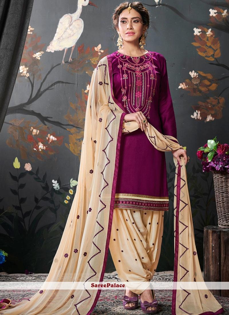 Cotton Silk Embroidered Designer Patiala Salwar Kameez in Purple