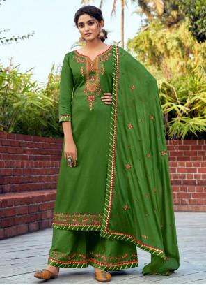 Cotton Silk Embroidered Green Salwar Kameez
