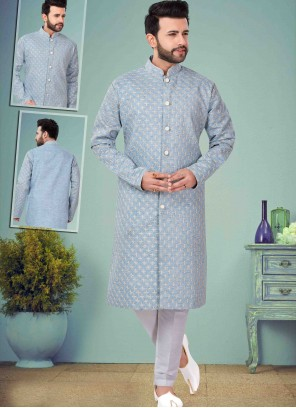 Cotton Silk Embroidered Indo Western in Blue