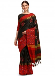 Cotton Silk Embroidered Traditional Saree in Black