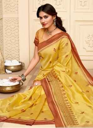 Cotton Silk Festival Yellow Classic Saree