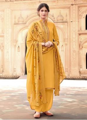 Cotton Silk Festival Yellow Designer Palazzo Salwar Suit
