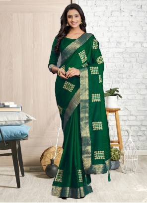 Cotton Silk Green Embroidered Traditional Saree