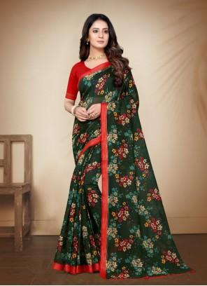 Cotton Silk Green Printed Saree