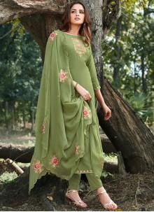 Cotton Silk Green Salwar Suit