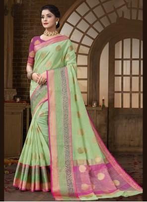Cotton Silk Green Traditional Saree