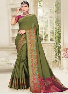 Cotton Silk Green Woven Designer Traditional Saree