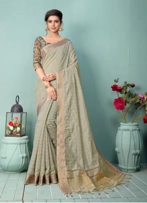 Cotton Silk Grey Traditional Saree