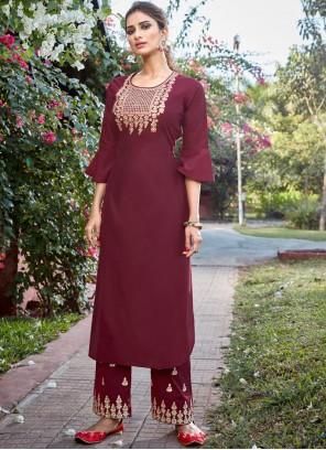 Cotton Silk Maroon Readymade Salwar Kameez