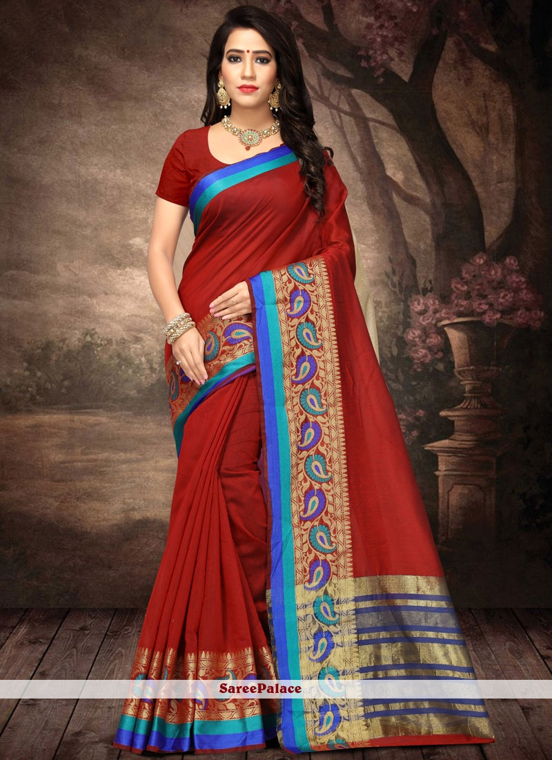 Cotton Silk Maroon Traditional  Saree
