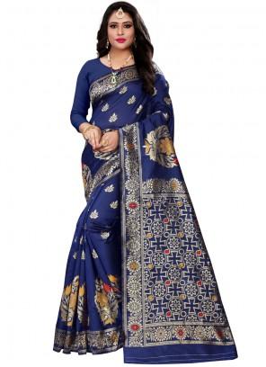 Cotton Silk Navy Blue Traditional Saree