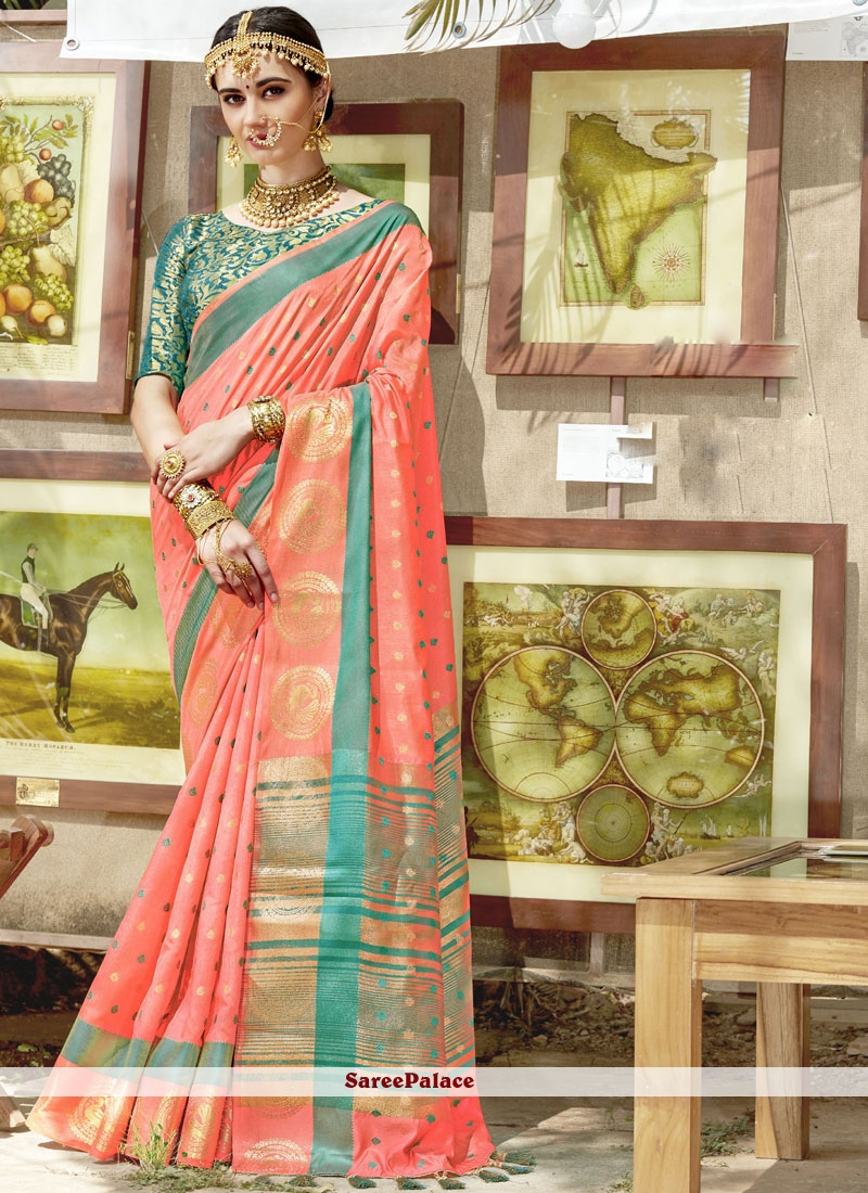 Cotton Silk Orange Classic Saree