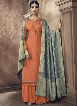 Cotton Silk Orange Resham Designer Palazzo Suit