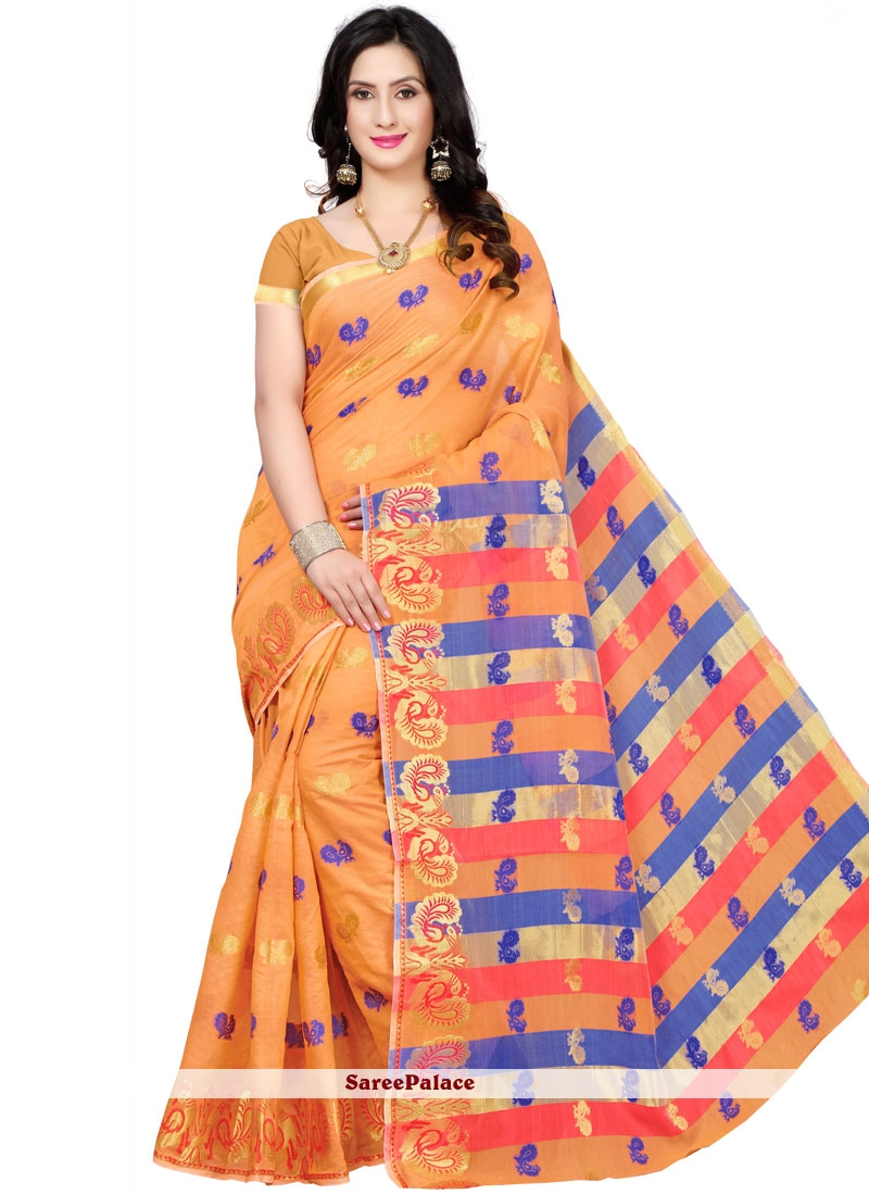 Cotton Silk Orange Traditional  Saree