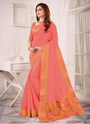 Cotton Silk Peach Classic Saree