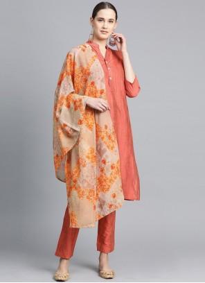 Cotton Silk Peach Designer Suit