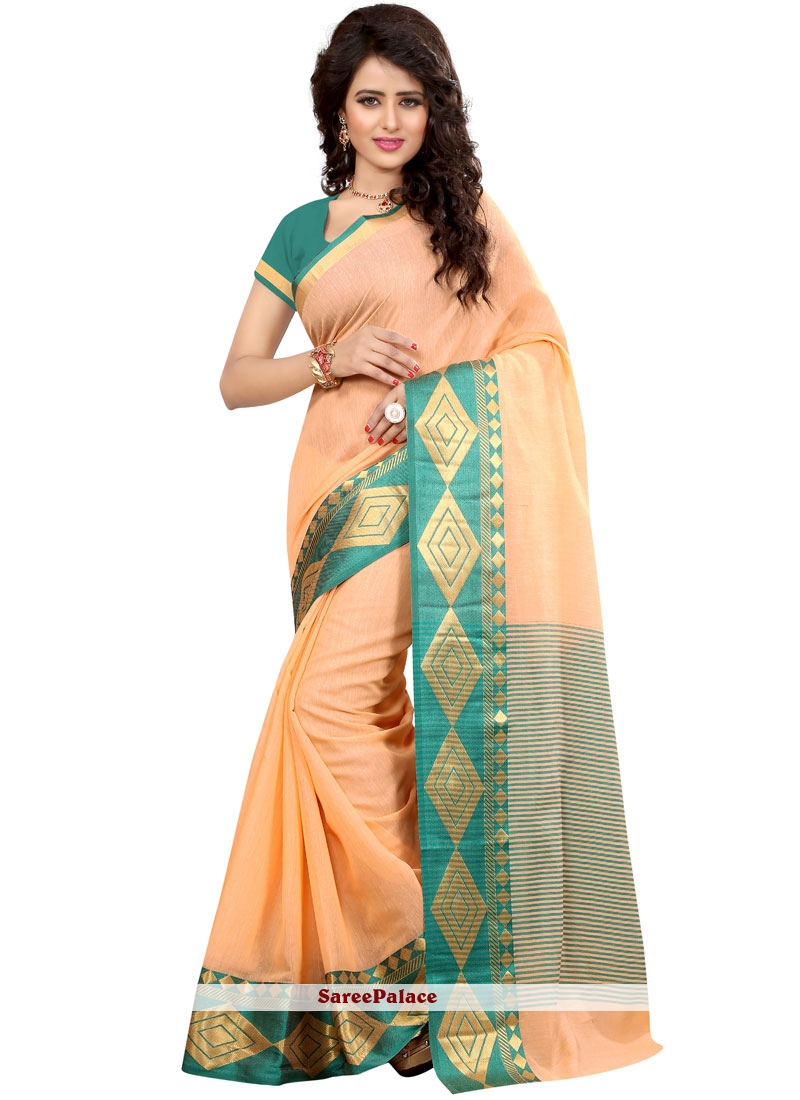 Cotton Silk Peach woven Work Traditional  Saree