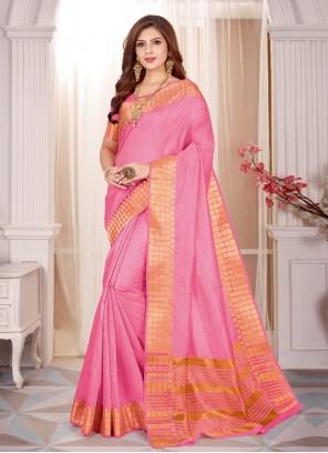 Cotton Silk Pink Fancy Classic Saree