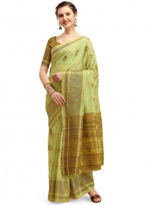 Cotton Silk Print Green Classic Saree